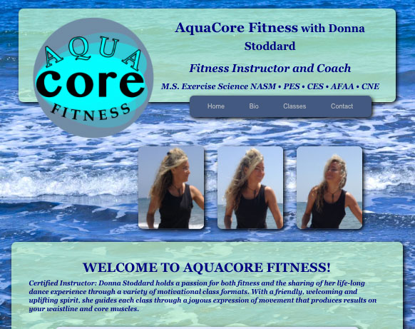 Image of website design, ocean background, logo and introduction to AquaCore Fitness, with Donna Stoddard.