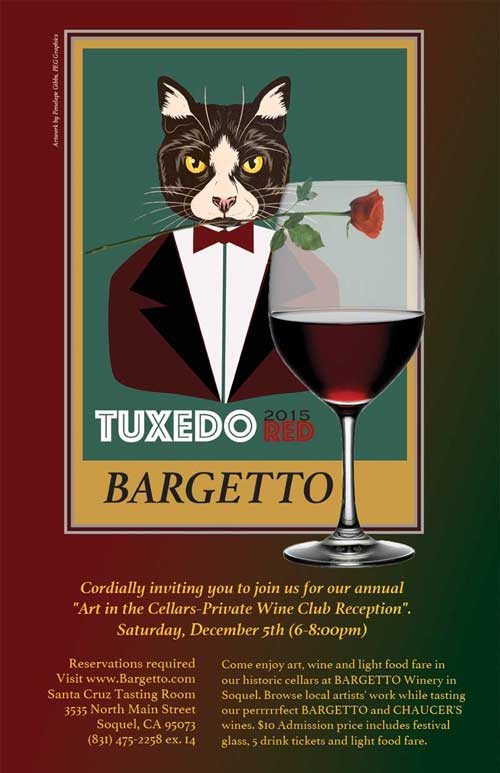 Poster advertising image of Bargetto's mascot, black and white cat, dressed in black, white and red tuxedo, bow tie, and a red rose held in mouth, serving a glass of red wine.