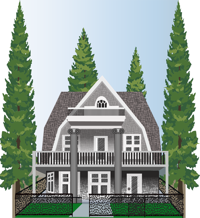 Illustration of a craftsman style house, designed by Penelope Gibbs for the website of a general contractor.