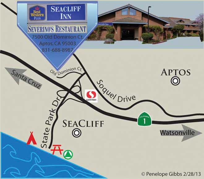 Illustration of map for directions to Seacliff Inn and Severino's Restaurant, designed by Penelope Gibbs