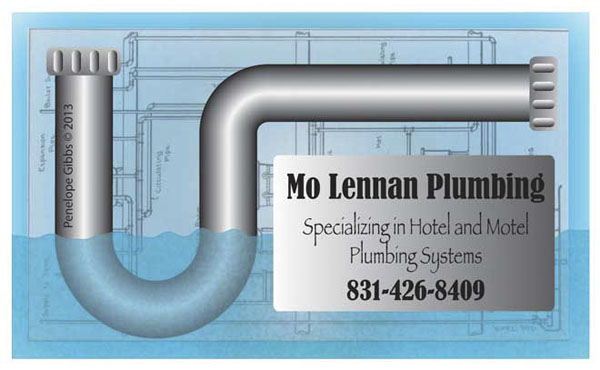 Illustrated business card for plumbing contractor, designed by Penelope Gibbs
